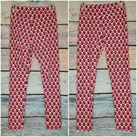 LULAROE Disney blue pink triangle Minnie Mouse Print Leggings Pants size OS EUC