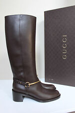 New sz 8.5 / 39 GUCCI Brown Leather Horsebit Knee High Riding Boot Low Heel Shoe
