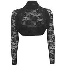 Womens Sheer Lace Long Sleeve Bolero Shrug Cropped Cardigan Top Sweater New