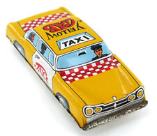 "Vintage Ichimura Yellow Taxi Cab Friction Toy Metal Car Tin 5"" Japan 60's"