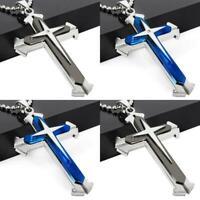 Edelstahl Kreuz Blau Silber Anhänger Halskette Kette Schmuck Geschenk Unis Heiß