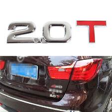 2.0 T Turbo Engine Metal Rear Emblem Logo Badge Sticker Emissions Letter Number