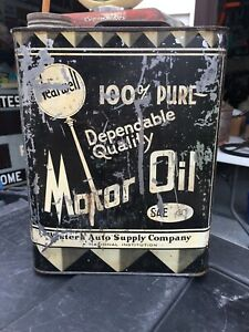 VINTAGE OIL CAN 2 GALLON WEARWELL MOTOR OIL CAN WESTERN AUTO SUPPLY COMPANY