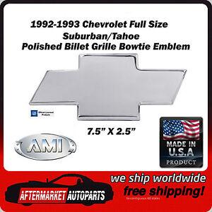 1992-1993 Chevrolet Suburban Polished Aluminum Bowtie Grille Emblem AMI 96001P