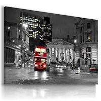 LONDON BY NIGHT RED BUS Canvas NEW Wall Art Picture Large L111 X MATAGA ENGLAND
