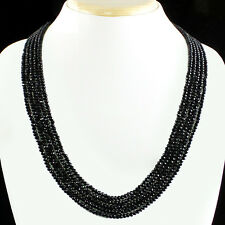 BEST 182.50 CTS NATURAL 5 STRAND RICH BLACK SPINEL ROUND CUT BEADS NECKLACE