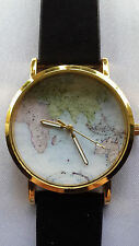Faux Leather Band Gold Plated Case Unisex Wristwatches