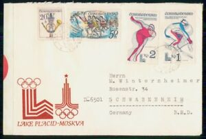 MayfairStamps Czechoslovakia Lake Placid & Moscow Olympics Cover wwk84405
