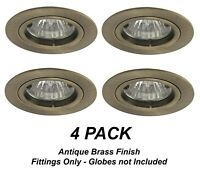 4 x Antique Brass Fixed Downlight Fittings 12V MR16 -  70mm cutout