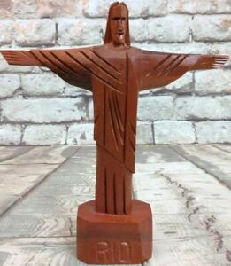 """Hand Carved 7.5"""" Christ The Redeemer Wood Sculpture Jesus Outstretched Arms Rio"""