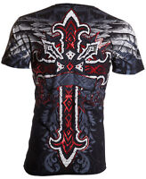 ARCHAIC by AFFLICTION Mens T-Shirt RED FLAG Cross Wings BLACK Tattoo Biker $40