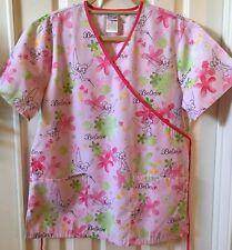 Disney Tinkerbell Fairy Nurse Scrub Top Women Small Pink