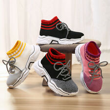 26-37 Kids Boys Flyknit Elastic Sock Sports Shoes Breath Comfort Running Casual