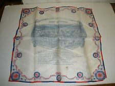 "Vintage / Antique Silk Hankie, Handkerchief Patriotic American ""Camp Greetings"""