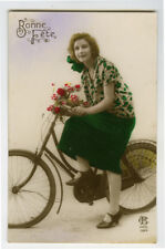 1920s Glamor Glamour Pretty LADY on BICYCLE Bike tinted photo postcard