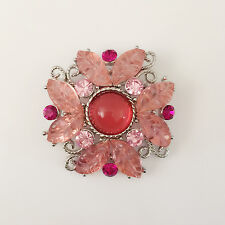 New Peach Pink Flower Wedding Party Crystal Lucky Crystal Brooch Pin Gift BR1314