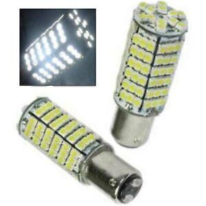 White LED #1157 12 Volt Tail Light Brake Stop Turn Signal Lamp Bulbs Pair 120SMD