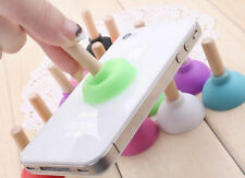 2 x Mini Rubber Plunger Phone Holder -  iPhone Samsung Phone Mobile Wooden Mount