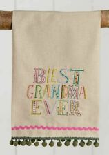 Natural Life Best Grandma Ever Embroidered Linen Towel