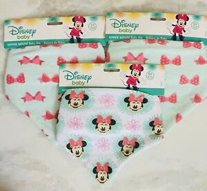 💕NWT Disney Baby Minnie Mouse Bandanna Easy adjustable neck 3-pack Bibs 0+