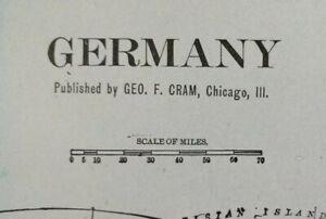 "Vintage 1901 GERMANY Map 22""x14"" Old Antique Original BERLIN BREMEN DUSSELDORF"