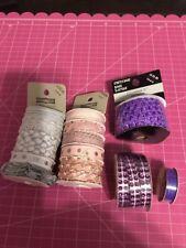 Ribbon Lot Pink Purple Silver 15 Rolls
