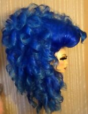 Drag Queen Double Wig Teased Big Long Dark Blue with Light Blue Ends Big Bangs