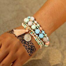Women Boho Crystal Beads Weave Tassel Bracelet Multilayer Coin Bracelets Gifts