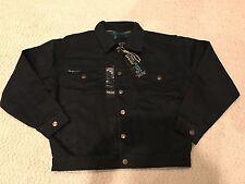 NWT Men's S&J Sportswear Black Denim Flannel Lined Button Down Jean Jacket Sz S