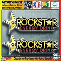 2 Stickers autocollant Rockstar energy drink adhésif decal sponsor motocross