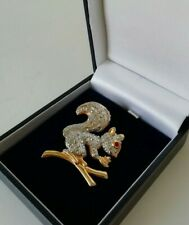 Squirrel on Branch Brooch Pin Kitsch Retro Gold Silver Tone Marcasite Style