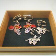 Clip On Earrings in Bamboo Box Enamel Sterling Silver Tiger & Bird