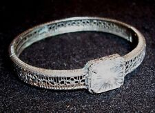 Antique White Gold Filled Filigree Bracelet Small Wrist Size