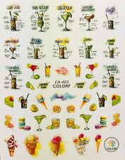 Nail Art 3D Decal Stickers Cocktails Bar Drinks Ice Cream Cone CA025