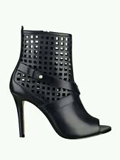 $149 GUESS OPEN TOE PERFORATED BOOTIES BLACK LEATHER SIZE 5.5