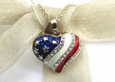 Red White Blue US American Flag Stripe Heart Crystal Rhinestone Pendant Necklace