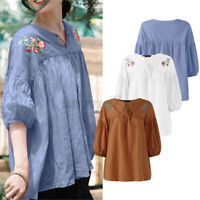 ZANZEA Womens Puff Sleeve Cotton Floral Embroidery Shirt Casual Loose Top Blouse