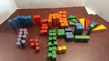 lot of 73 piece child's vintage colorful wooden lumber building blocks