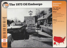 THE 1973 OIL EMBARGO Old Cars Gas Station Picture GROLIER STORY OF AMERICA CARD