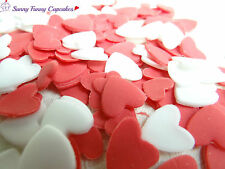 Mix of white and red edible sugar hearts cupcake decorations cake toppers