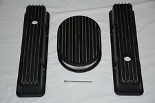 """Black Aluminum Chevy Finned TALL Valve Covers + 12"""" Air Cleaner 283 305 350 SBC"""
