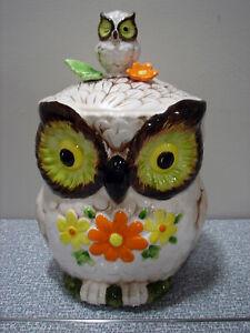 Vintage Owl W/ Winking Baby Owl & Flowers Cookie Jar