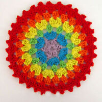 4Pcs/Lot Round Vintage Hand Crochet Lace Doilies Small Placemats 4inch Rainbow