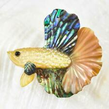 Siamese Fighting Fish Iridescent Multicolor Shell Carving 2.68 g Top-drilled