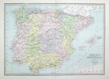 1883 - Large Original Antique Colour Map of SPAIN & PORTUGAL (PHA)
