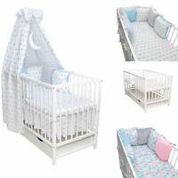Babybett Kinderbett weiß Bettset MOND Minky Matratze Schublade 120x60 Neu