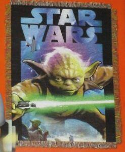 New Star Wars Yoda The Last Jedi Woven Throw Tapestry Gift Blanket Movie Saga