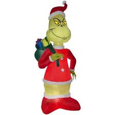 8 Ft Grinch in Santa Suit w Sack Inflatable Christmas Blow Up Yard Decor Lighted