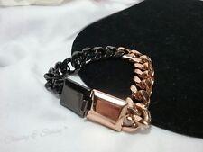 Vintage Pierre Cardin Black Copper Color Unisex Men Woman Chunky Chain Bracelet