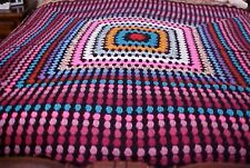 HANDMADE Crochet AFGHAN Throw BLANKET ~Vintage~Black~Multi~Gorgeous~